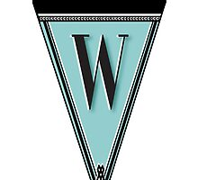 Manhattan 1920s Deco Blues Banner… Monogram letter initial W by CecelyBloom