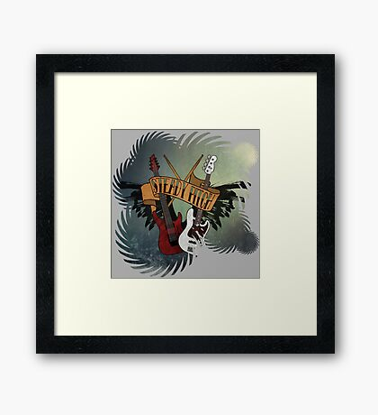 The Music Pitch... Rock'n'Roll and let your guitar, bass and drums rock! (gear rays version) Framed Print