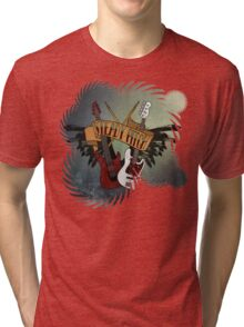 The Music Pitch... Rock'n'Roll and let your guitar, bass and drums rock! (gear rays version) Tri-blend T-Shirt