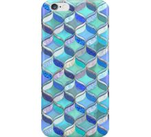 Patchwork Ribbon Ogee Pattern in Blues & Greens iPhone Case/Skin