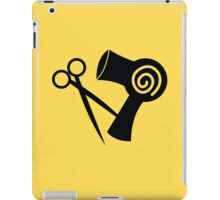 Hairdryer and scissors hairstylist iPad Case/Skin