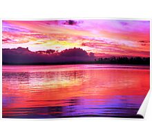 Purple River Sunset Poster