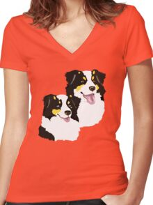 """Black Tri Aussie """"Pair to draw to"""" Women's Fitted V-Neck T-Shirt"""