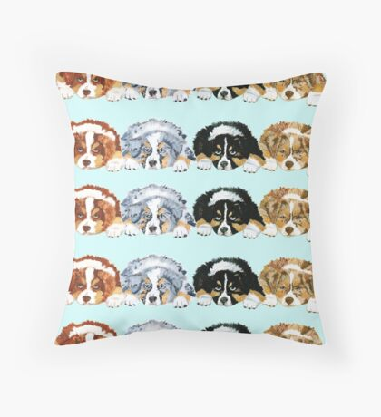 Australian Shepherd Puppies all 4 colors Throw Pillow