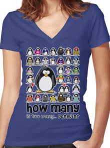 How Many Penguins is Too Many Penguins? Women's Fitted V-Neck T-Shirt