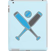 Two baseball bats crosses with baseball in blue iPad Case/Skin