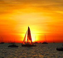 Sunset sail by Lynette Higgs
