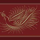 Spencerian Flourished Dove by luvapples downunder/ Norval Arbogast