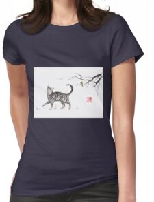 Play it cool sumi-e painting Womens Fitted T-Shirt