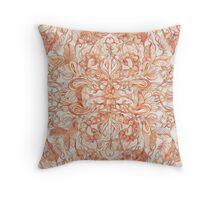 Autumn Peach Art Nouveau Pattern Throw Pillow