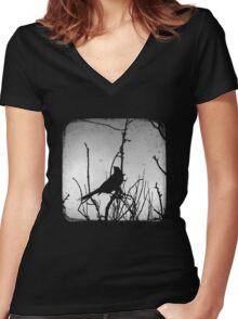 Wattlebird - Black Women's Fitted V-Neck T-Shirt