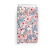 Shabby Chic Hibiscus Patchwork Pattern in Pink & Blue Duvet Cover