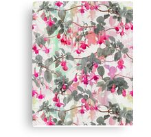 Rainbow Fuchsia Floral Pattern - with grey Canvas Print
