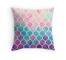 Rainbow Pastel Watercolor Moroccan Pattern Throw Pillow