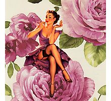 vintage purple roses pin up girl Photographic Print