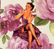 vintage purple roses pin up girl by lfang77