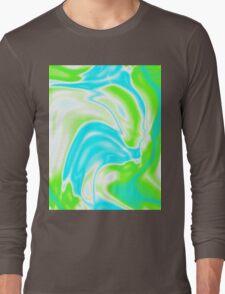 trendy watercolor spring bright aqua blue neon green swirls Long Sleeve T-Shirt