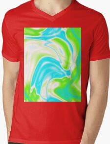 trendy watercolor spring bright aqua blue neon green swirls Mens V-Neck T-Shirt