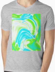 trendy watercolor spring bright aqua blue neon green swirls Mens V-Neck T-Shirt