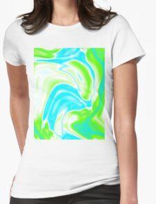 trendy watercolor spring bright aqua blue neon green swirls Womens Fitted T-Shirt