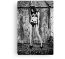 Girl in a black bikini Canvas Print
