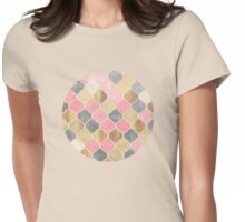 Silver Grey, Soft Pink, Wood & Gold Moroccan Pattern Womens Fitted T-Shirt