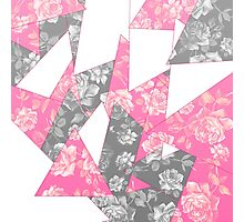 Pink and Grey Rose Geometric Pattern Photographic Print