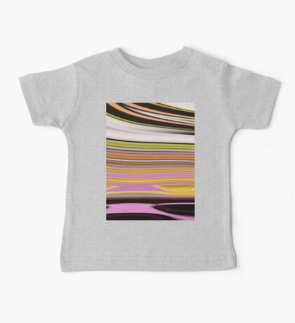 trendy abstract black white yellow green pink lines Baby Tee