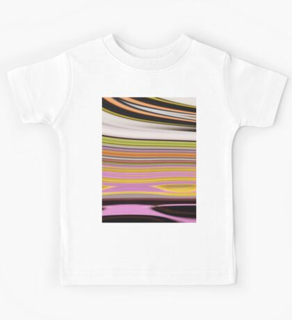 trendy abstract black white yellow green pink lines Kids Tee