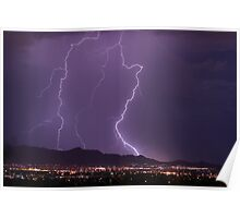 Mountains, City Lights and Lightning Strikes Poster