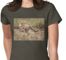 Carefree Cheetah Cub Womens Fitted T-Shirt