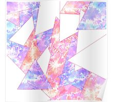 Colorful Bright Geometric Watercolor Paint Pattern Poster