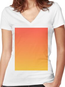 modern trendy abstract Yellow Orange Ombre Women's Fitted V-Neck T-Shirt