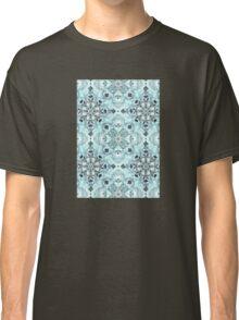 Soft Mint & Teal Detailed Lace Doodle Pattern Classic T-Shirt