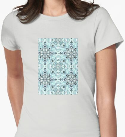 Soft Mint & Teal Detailed Lace Doodle Pattern Womens Fitted T-Shirt