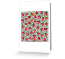 Red Watercolor Strawberries on Black & White Dots Greeting Card