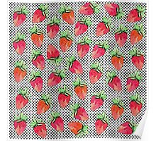 Red Watercolor Strawberries on Black & White Dots Poster