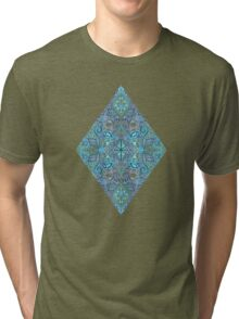 Blue and Teal Diamond Doodle Pattern Tri-blend T-Shirt