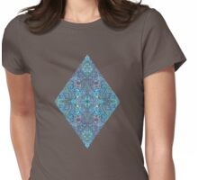 Blue and Teal Diamond Doodle Pattern Womens Fitted T-Shirt
