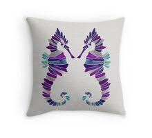 Seahorse – Purple & Silver Throw Pillow
