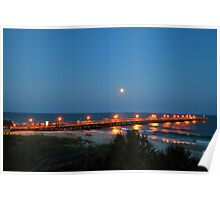 Full Moon At The Pier Poster