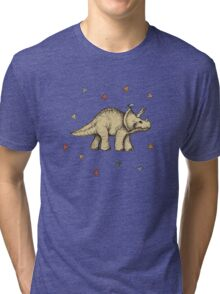Triceratops & Triangles Tri-blend T-Shirt