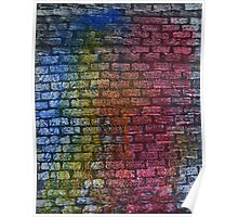 Brick textured wall on canvas ready for graffiti. Poster