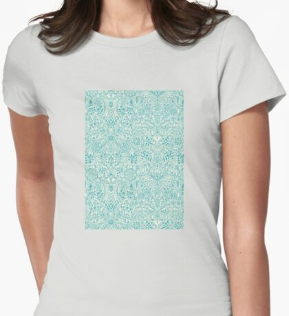 Detailed Floral Pattern in Teal and Cream Womens Fitted T-Shirt