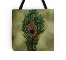 Peacock Feather on Vintage Paper Tote Bag