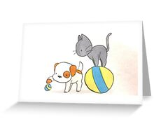 Dog and Cat Play Time Greeting Card