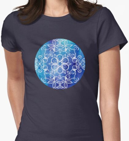 White Floral Painted Pattern on Blue Watercolor Womens Fitted T-Shirt