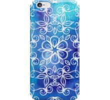 White Floral Painted Pattern on Blue Watercolor iPhone Case/Skin