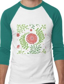 Elegance Seamless pattern with flowers, vector floral illustration in vintage style Men's Baseball ¾ T-Shirt