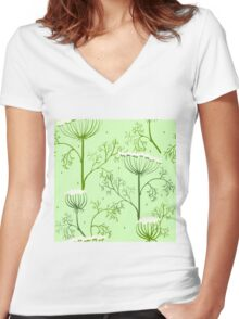 Elegance Seamless pattern with flowers, vector floral illustration in vintage style, Ukraine, dill Women's Fitted V-Neck T-Shirt